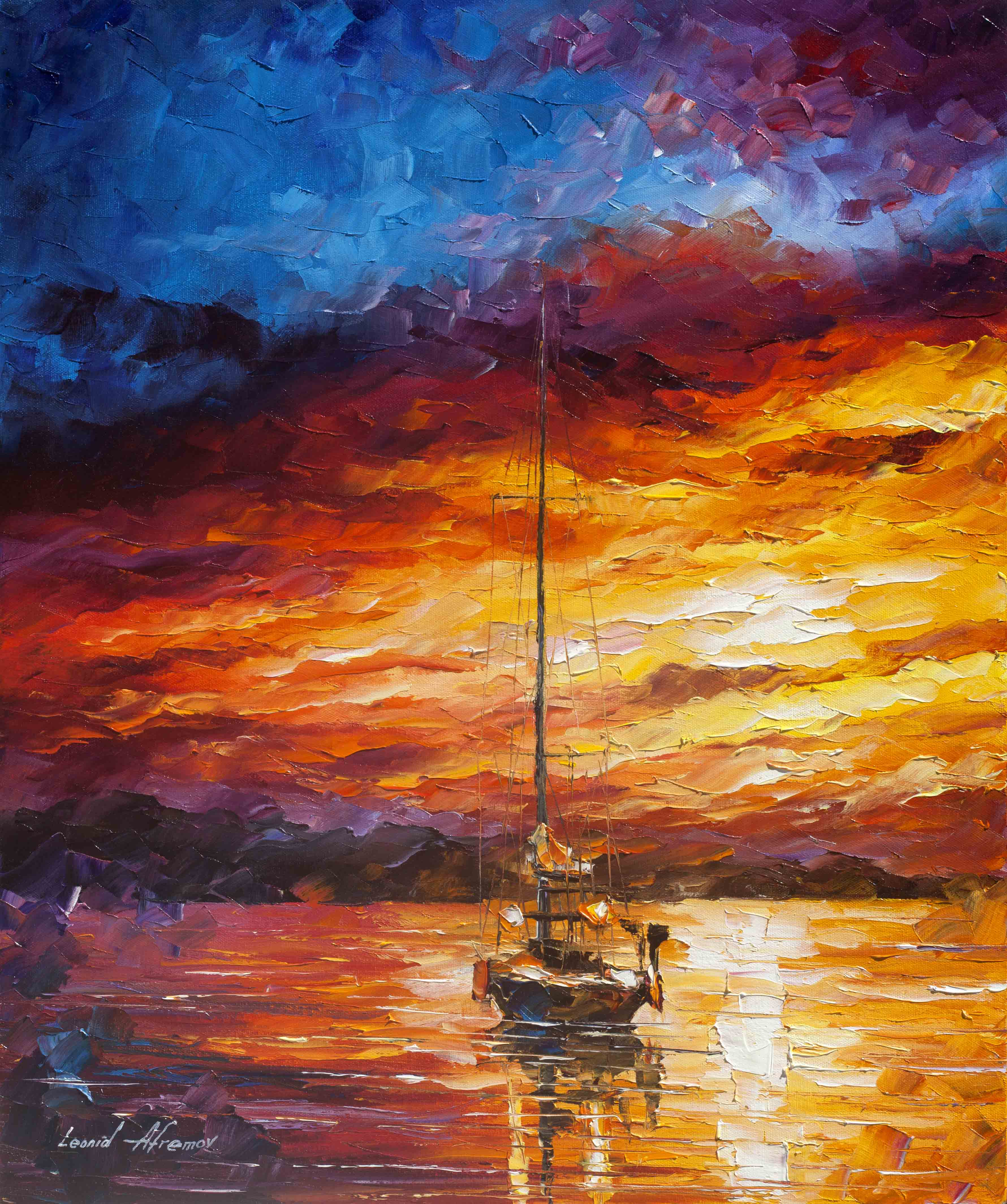 COLOR WAVES - PALETTE KNIFE Oil Painting On Canvas By ...