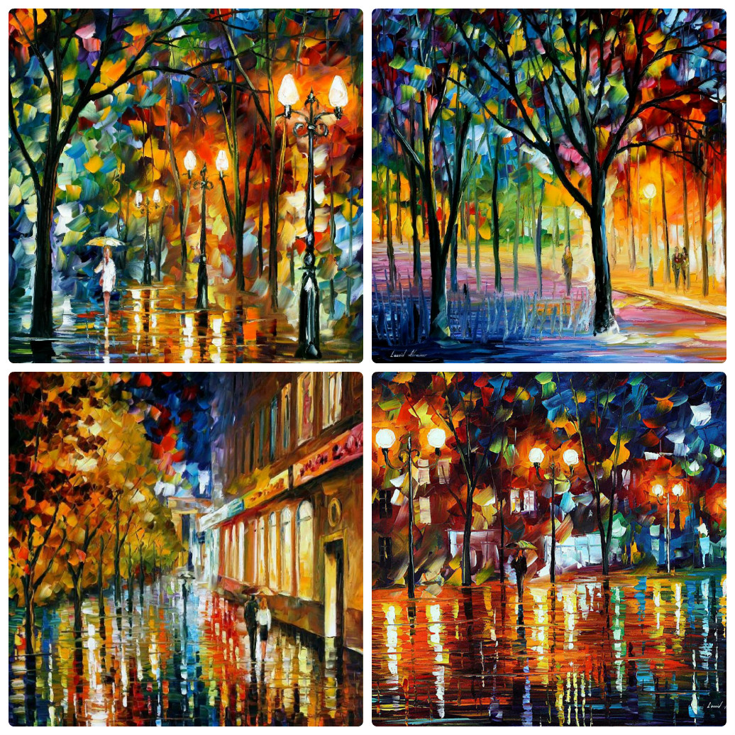 Set Of 4 My Most Favorite Holidays Paintings (AFTER THE HOLIDAYS, RAIN BEFORE CHRISTMAS, HOLIDAY MOOD, HOLIDAY WINDOWS)
