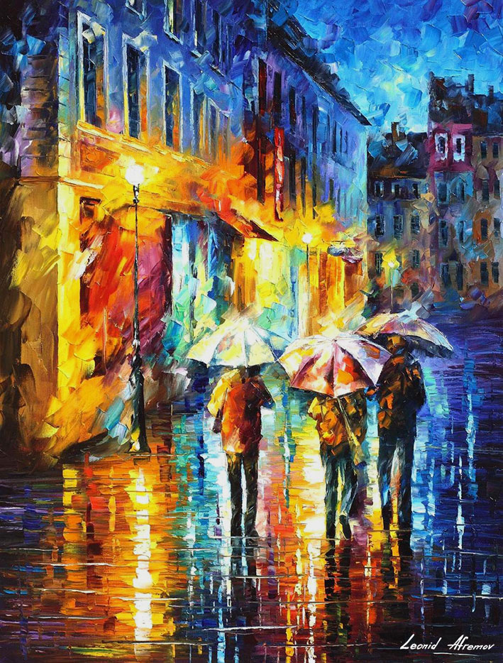 THE THREE UMBRELLAS — PALETTE KNIFE Oil Painting On Canvas ...