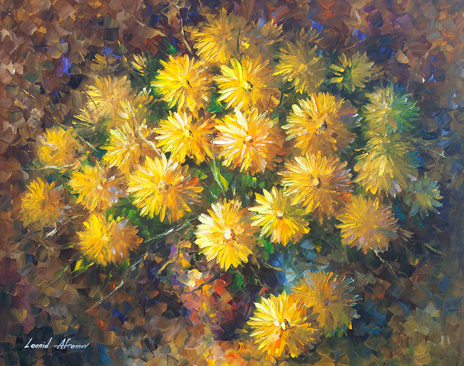 Yellow flowers palette knife oil painting on canvas by leonid yellow flowers 3 mightylinksfo