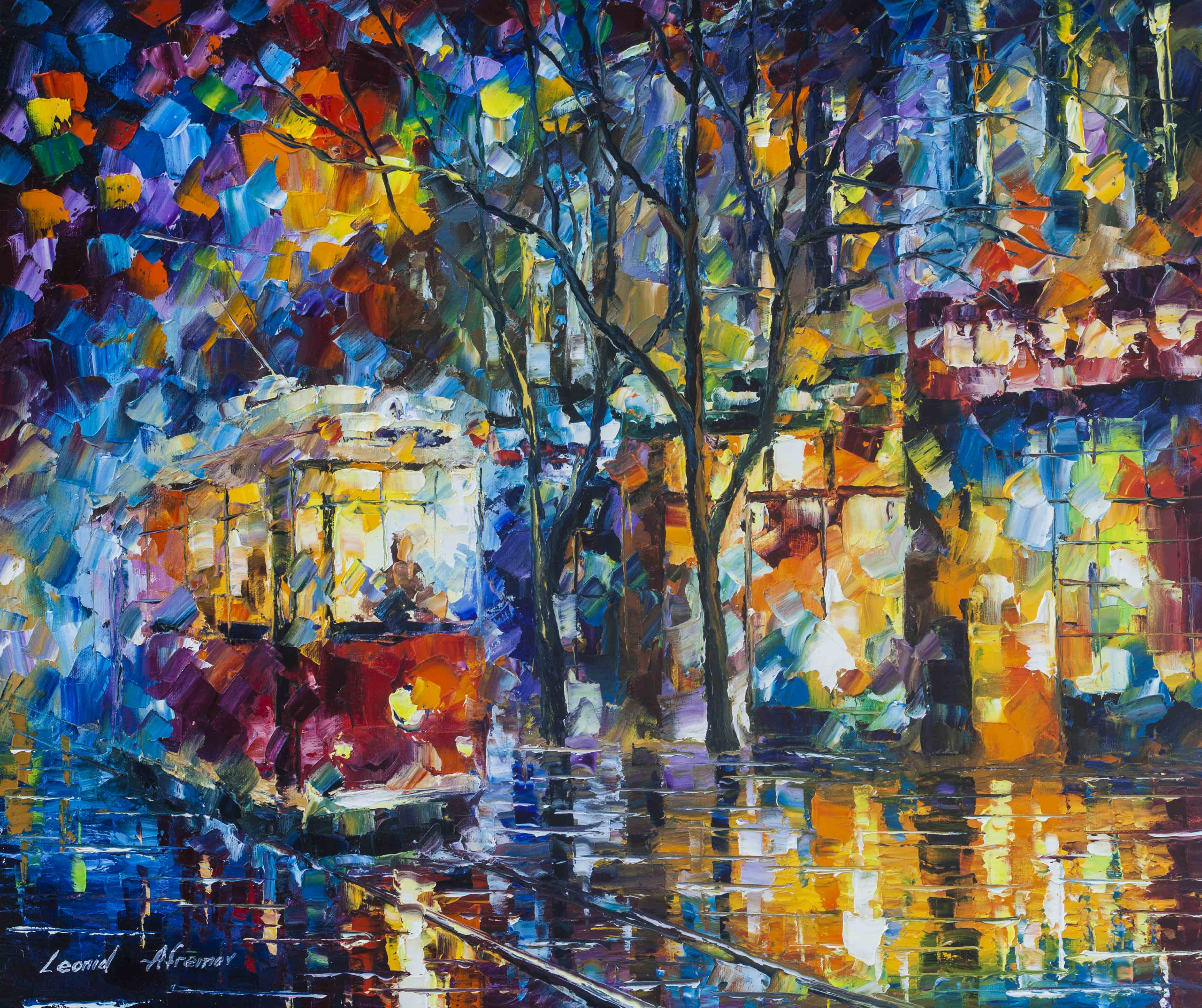 RED TRAM IN THE RAINY CITY