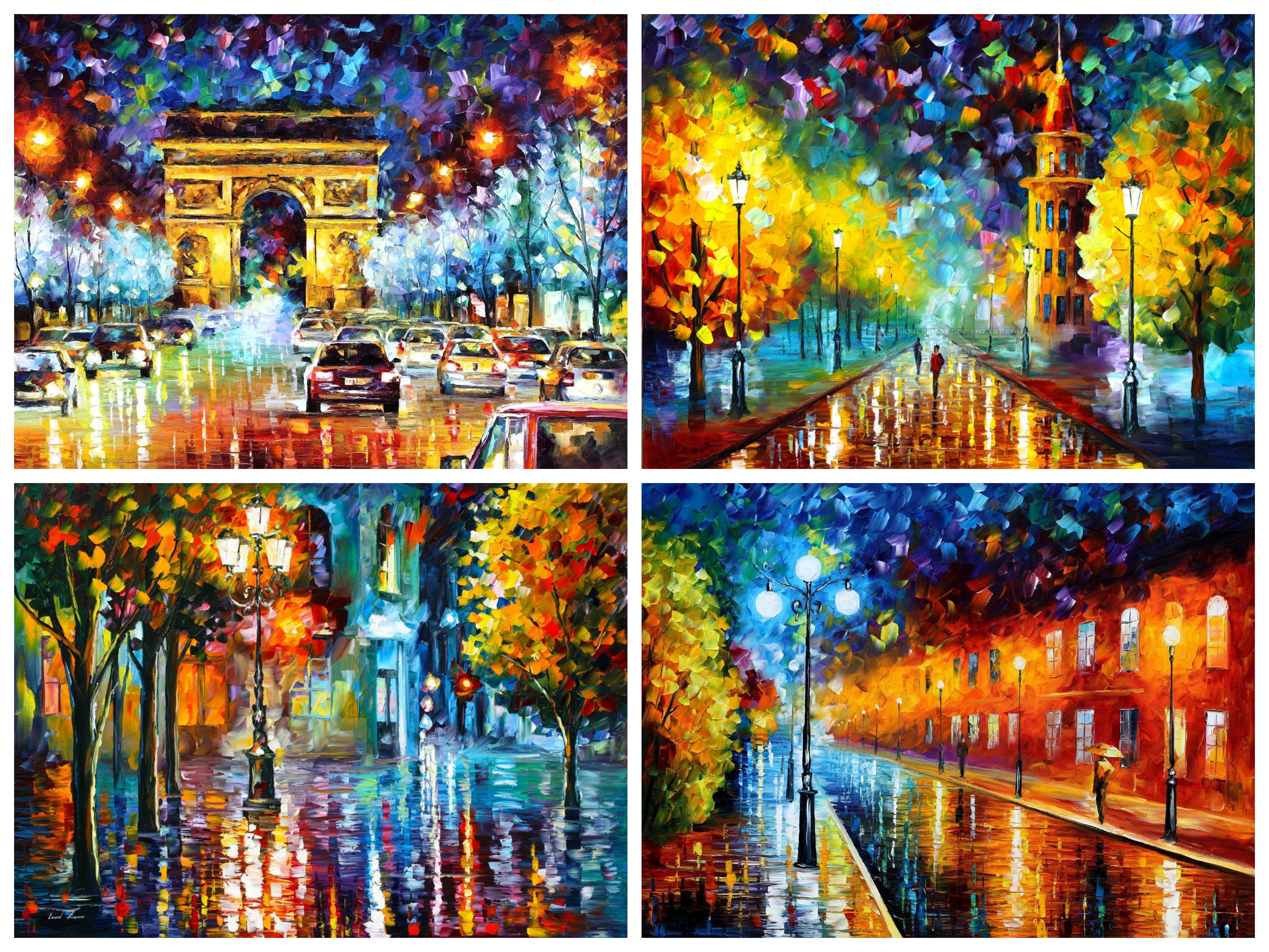 Limited Edition Set Of 4 Mixed Media Giclees - Paris Flight, Gold Winter, Blue lights, Old Streets