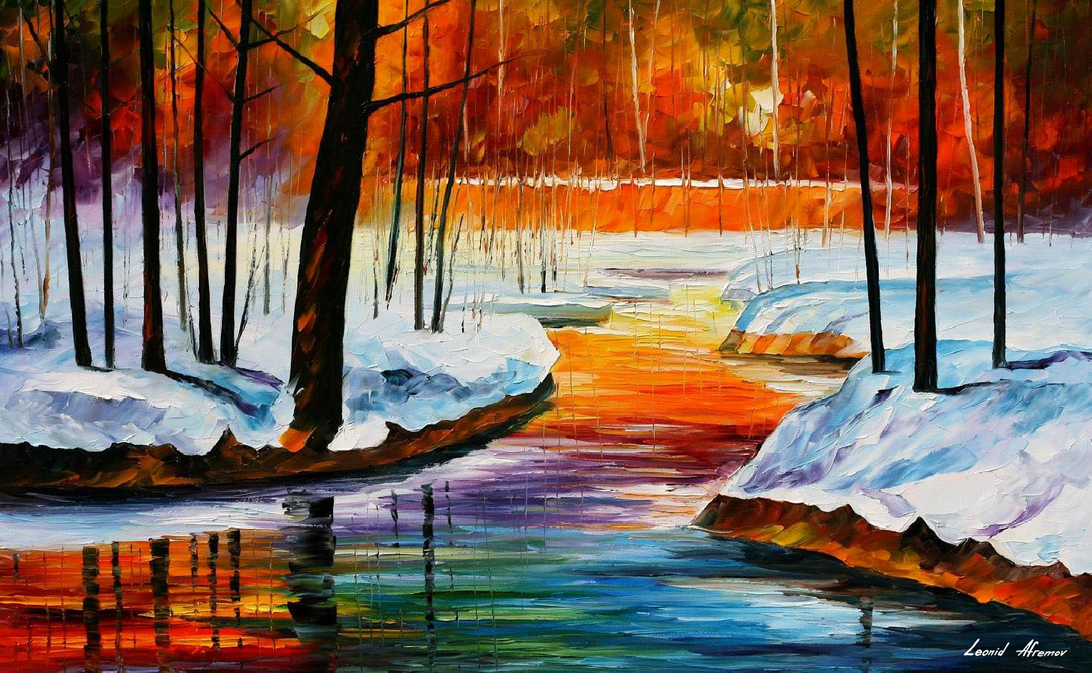 Beginning Of Spring Palette Knife Oil Painting On Canvas By Leonid