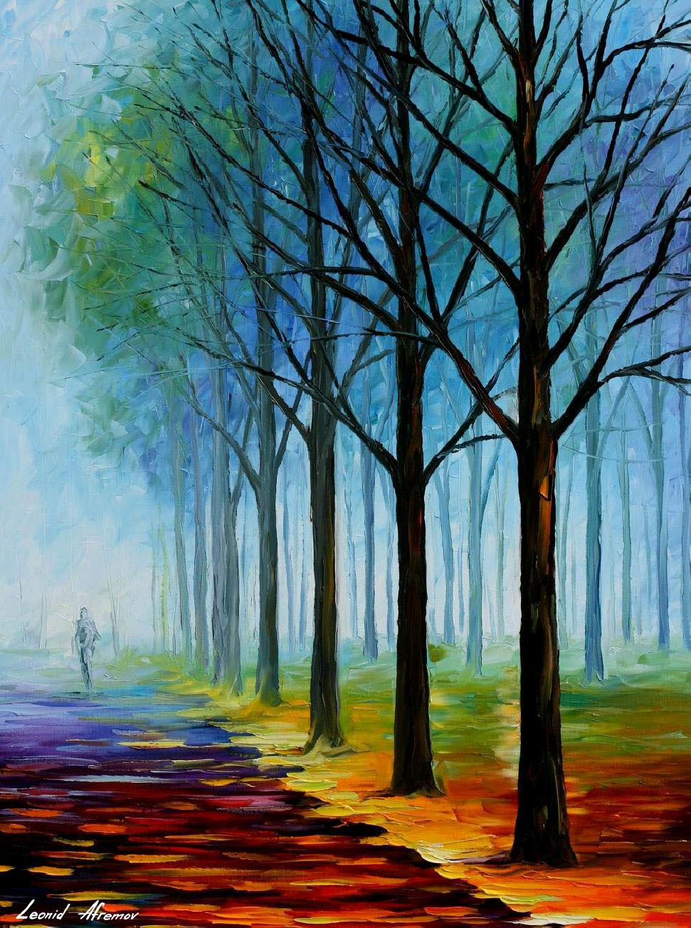 Blue Fog Palette Knife Oil Painting On Canvas By Leonid