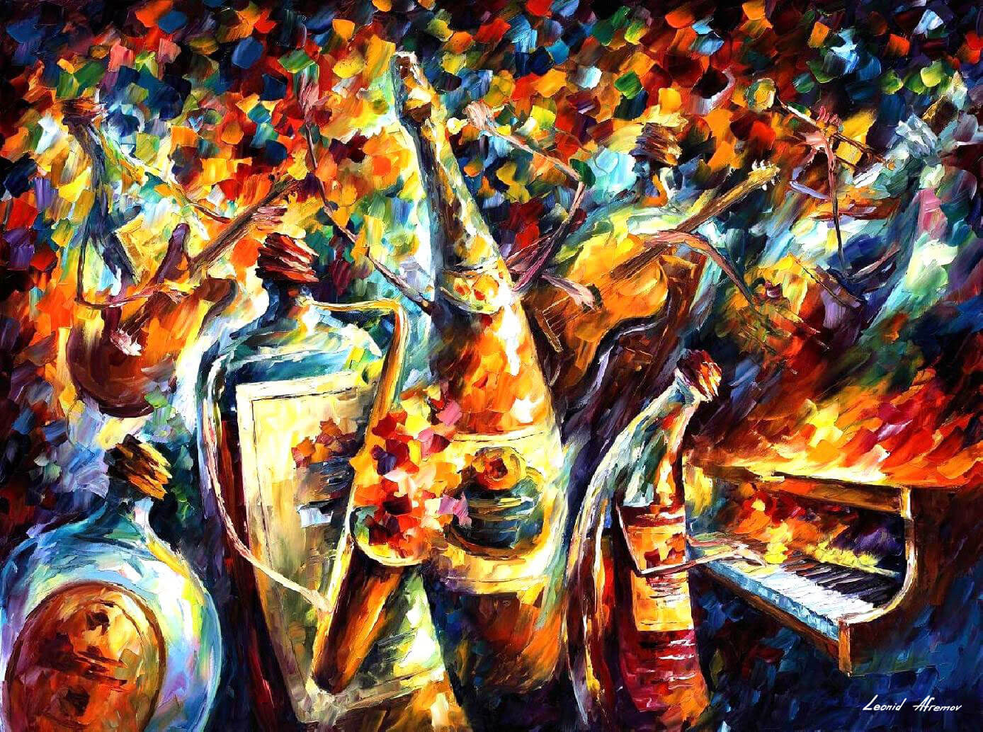 Bottle Band Palette Knife Oil Painting On Canvas By