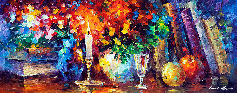 "CANDLE OF INSPIRATION - Original Oil Painting On Canvas By Leonid Afremov - 40""X16"" (100cm x 40cm)"
