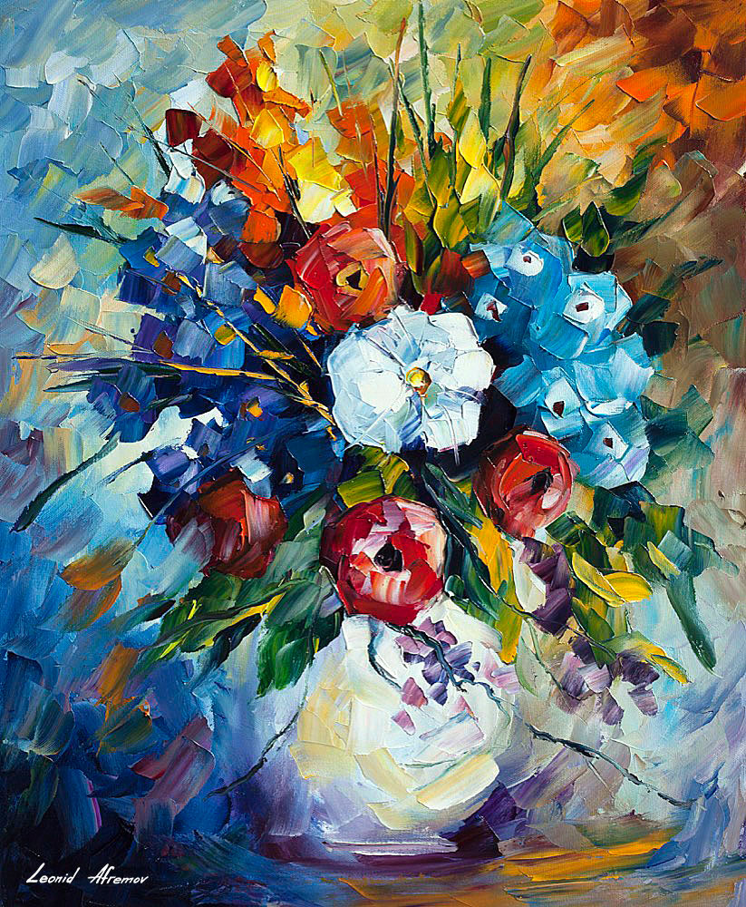Colorful bouquet palette knife oil painting on canvas by leonid colorful bouquet colorful bouquet izmirmasajfo
