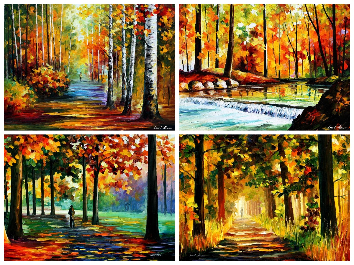 Set Of 4 My Most Favorite Forest Paintings (FOREST ROAD 2, FOREST STREAM 5, THE SOUL OF THE FOREST, ORANGE FOREST)