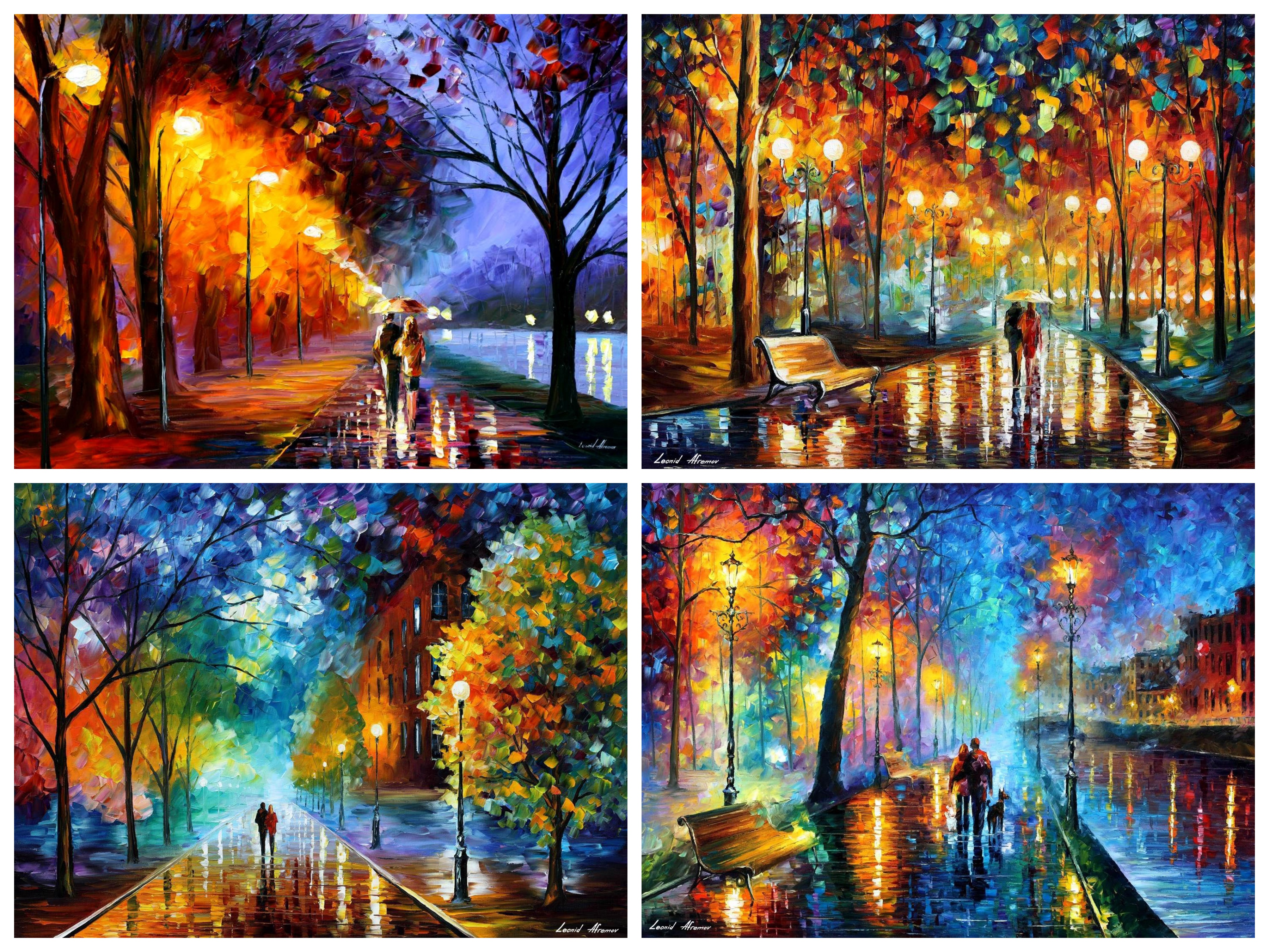 Set Of 4 My Most Favourite Artworks (Melody Of The Night, Alley By The Lake, Rain's Rustle, Freshness Of Cold)