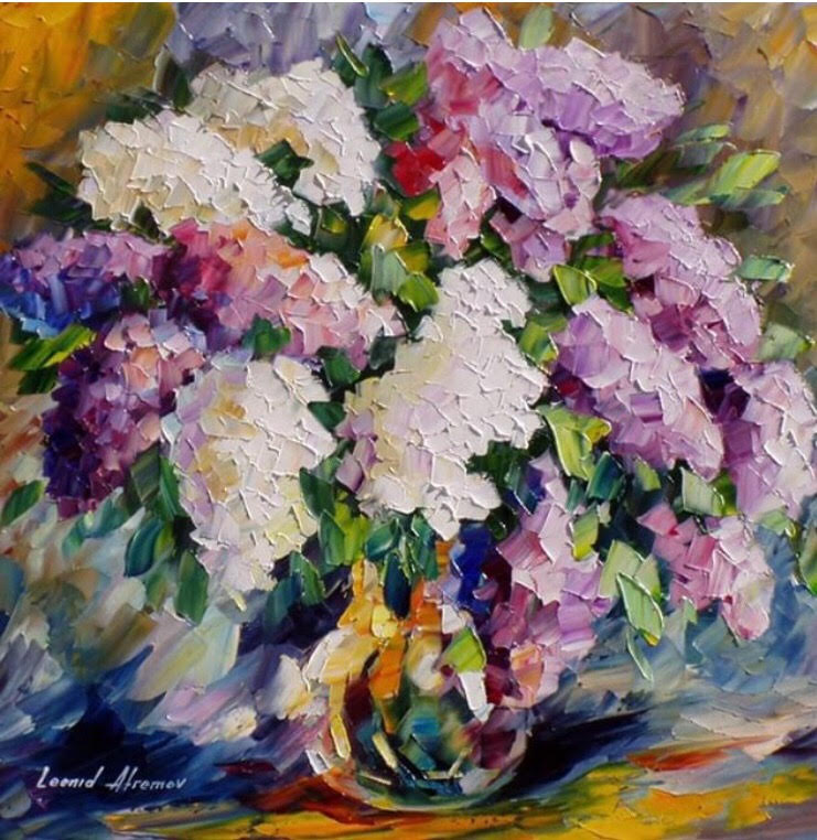 "Crystal Lilac — Palette knife Oil Painting  on Canvas by Leonid Afremov  - Size 36""x30"" (90cm x 75cm) [ clone ]"