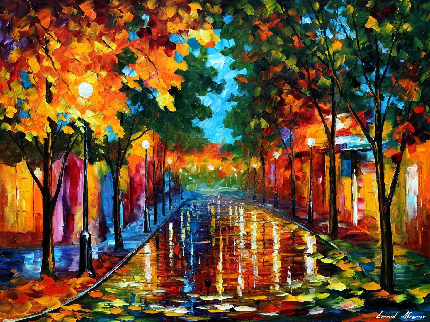 Fallen leafs palette knife oil painting on canvas by for Materials for canvas painting
