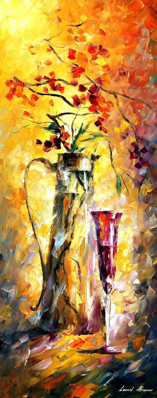 Flowers And Wine Palette Knife Oil Painting On Canvas By