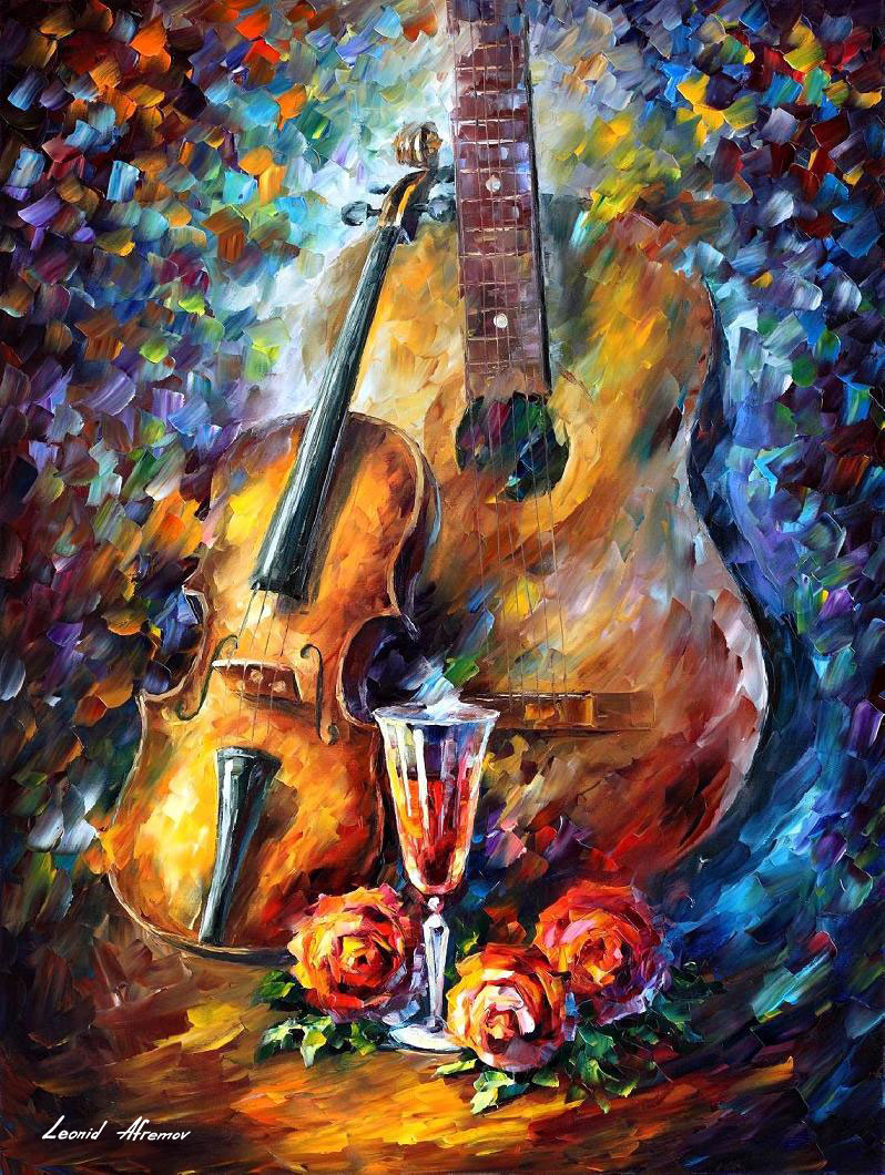 ROMANTIC GUITAR AND VIOLIN — PALETTE KNIFE Oil Painting On Canvas By Leonid Afremov