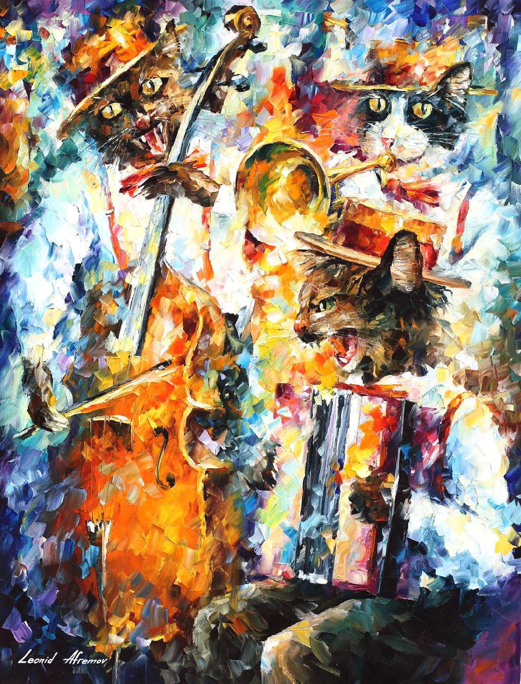 Jamming cats 1 original oil painting on canvas by leonid for Oil paintings for the home