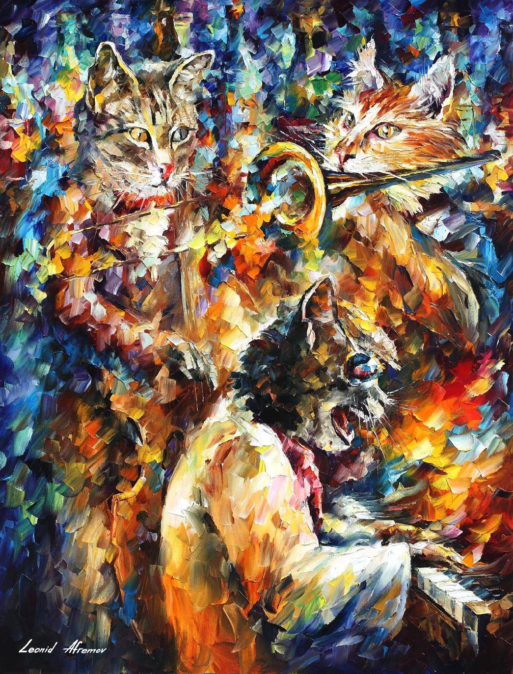 "JAMMING CATS 4 - Original Oil Painting On Canvas By Leonid Afremov - 30""X40"""