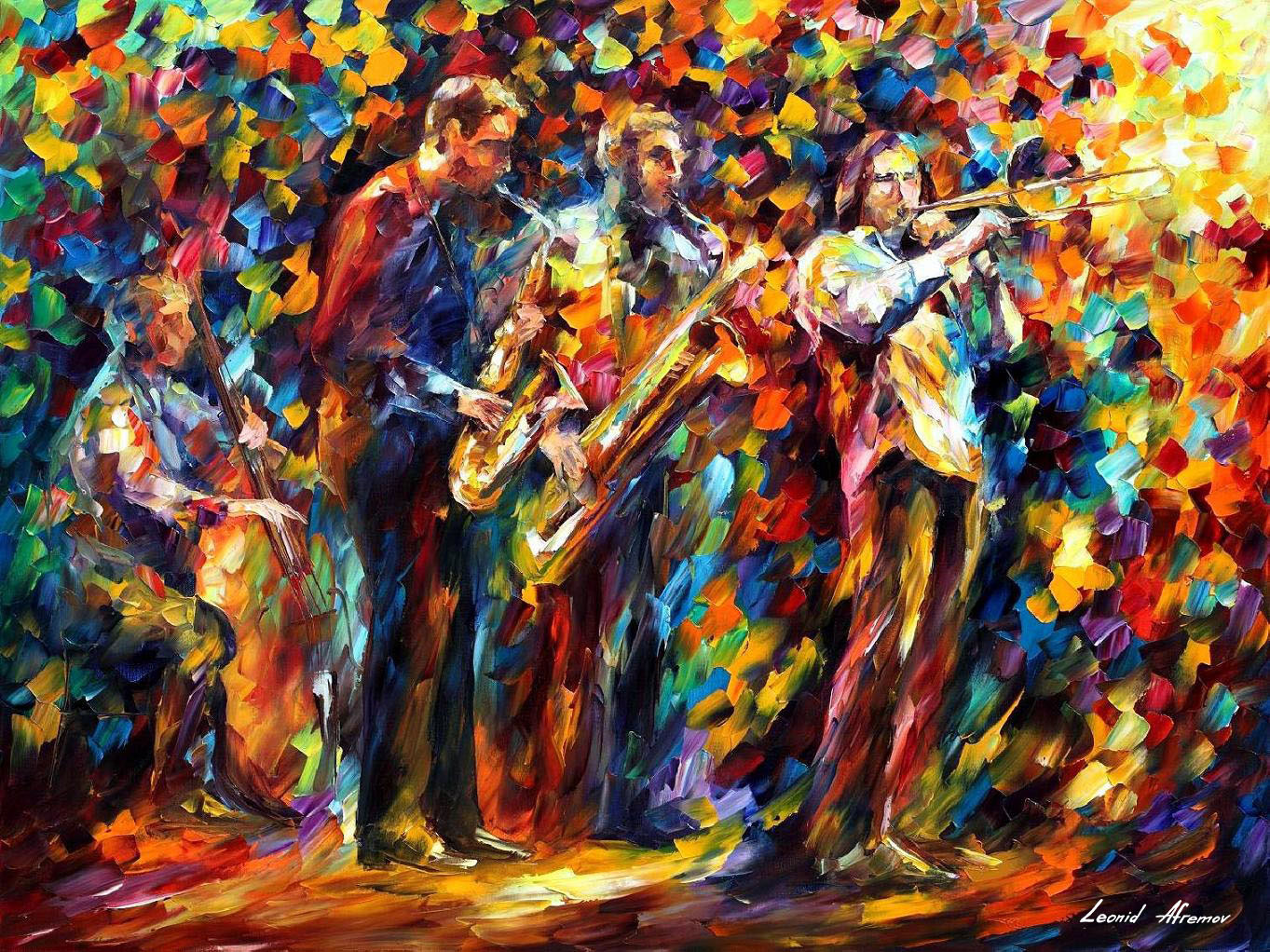Jazz band palette knife oil painting on canvas by leonid for Buy canvas prints online