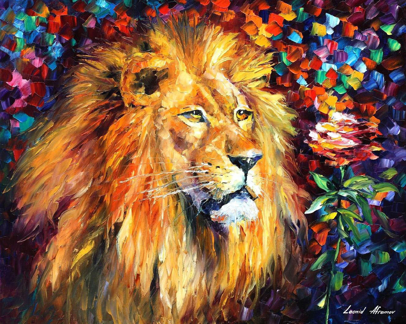 lion palette knife oil painting on canvas by leonid