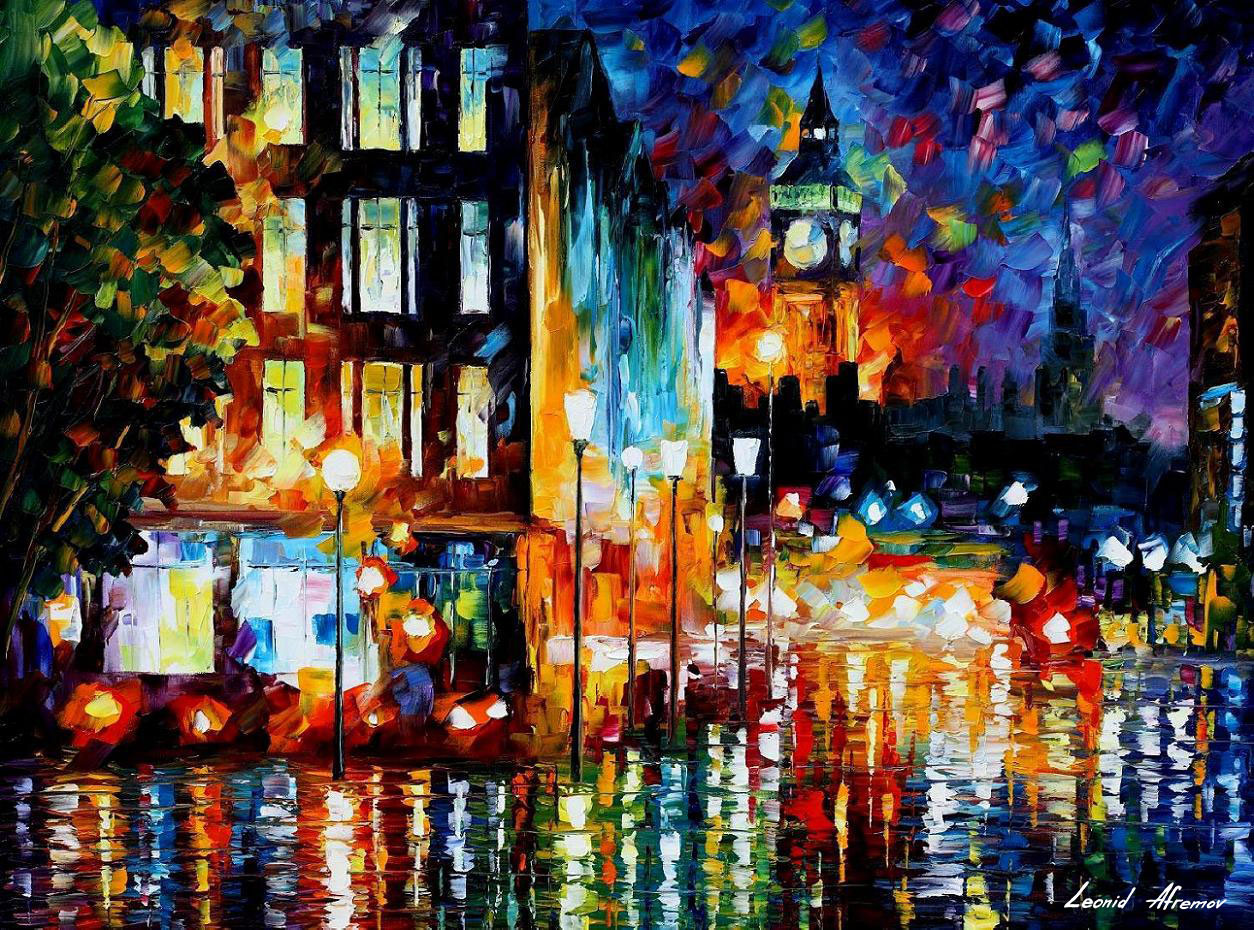 London 39 s lights palette knife oil painting on canvas by for Lights for paintings