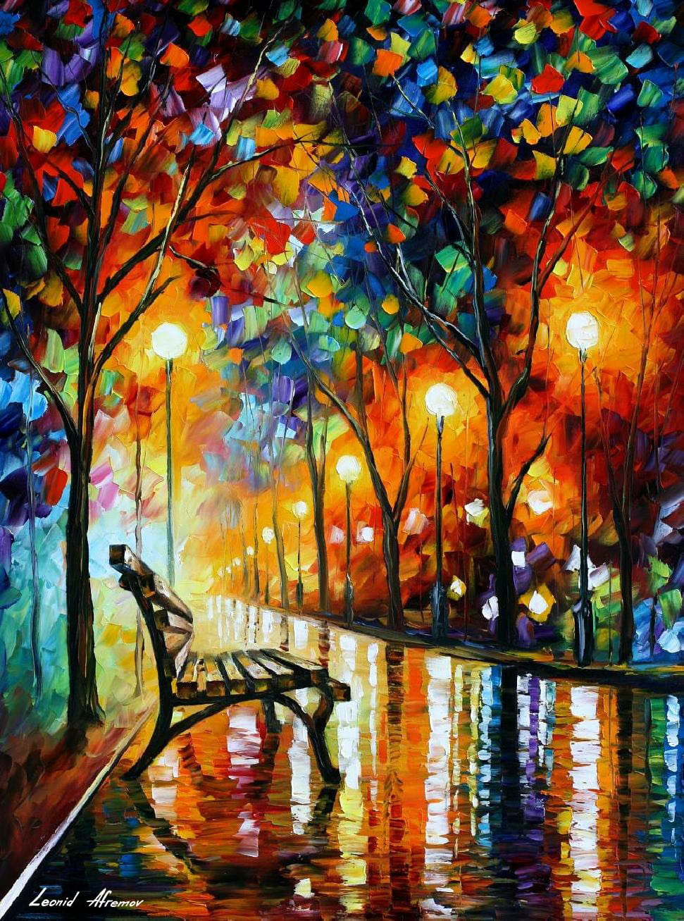 Loneliness of autumn palette knife oil painting on for Mural on canvas