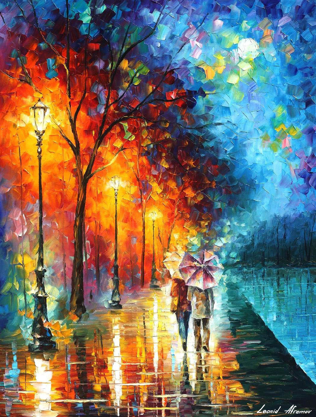 LOVE BY THE LAKE — PALETTE KNIFE Oil Painting On Canvas By ...
