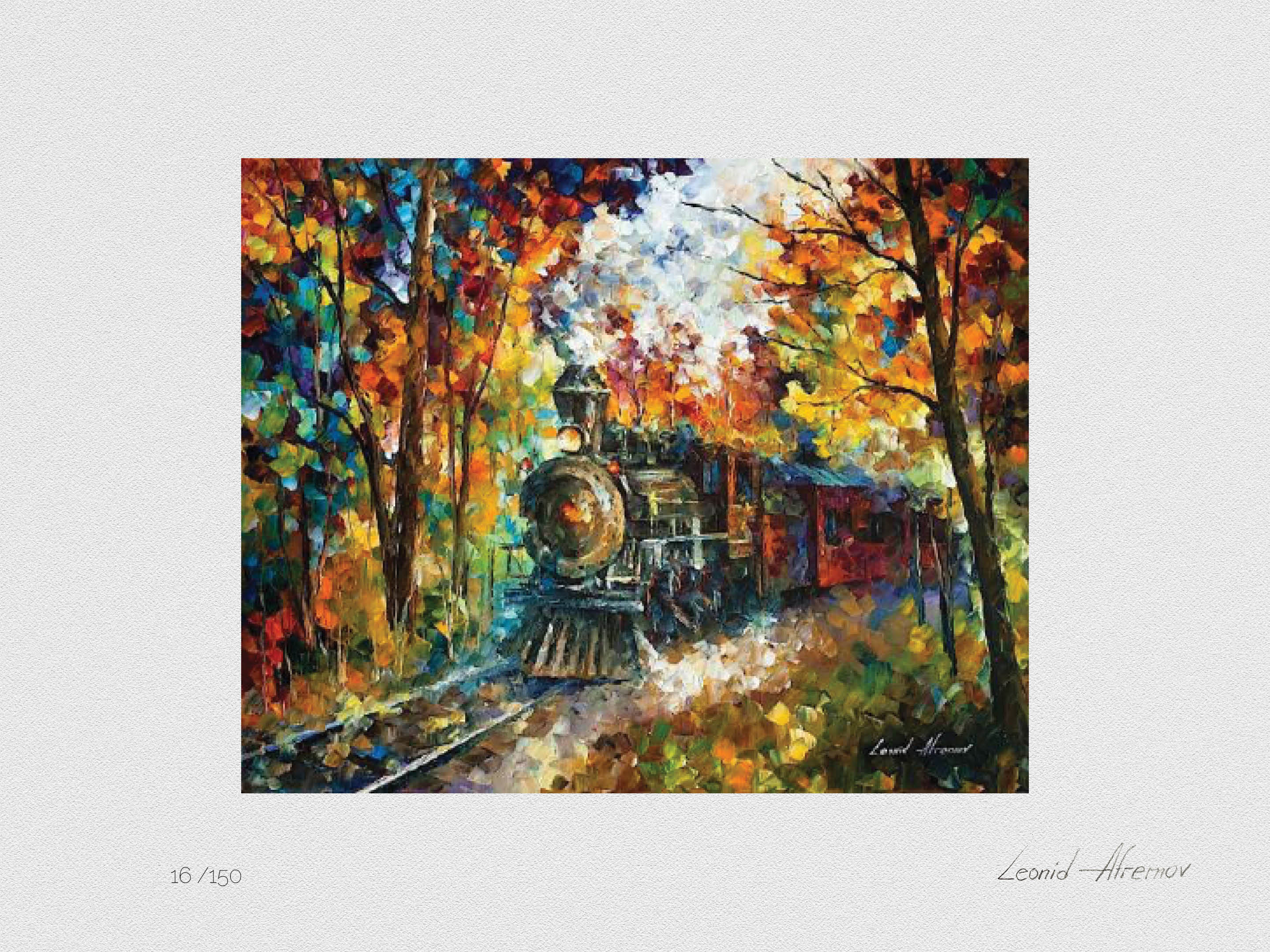 Set of 3 Lithography - Old Train, Orange Smoothness, Rain's Rustle In The Park