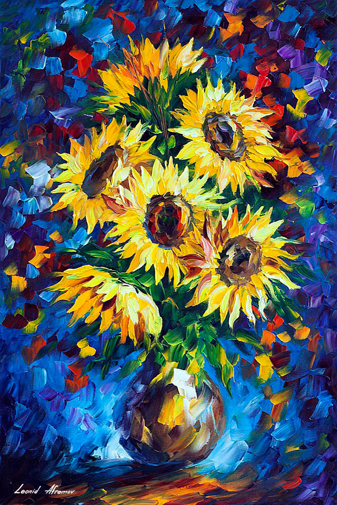 Night Sunflowers Palette Knife Oil Painting On Canvas By