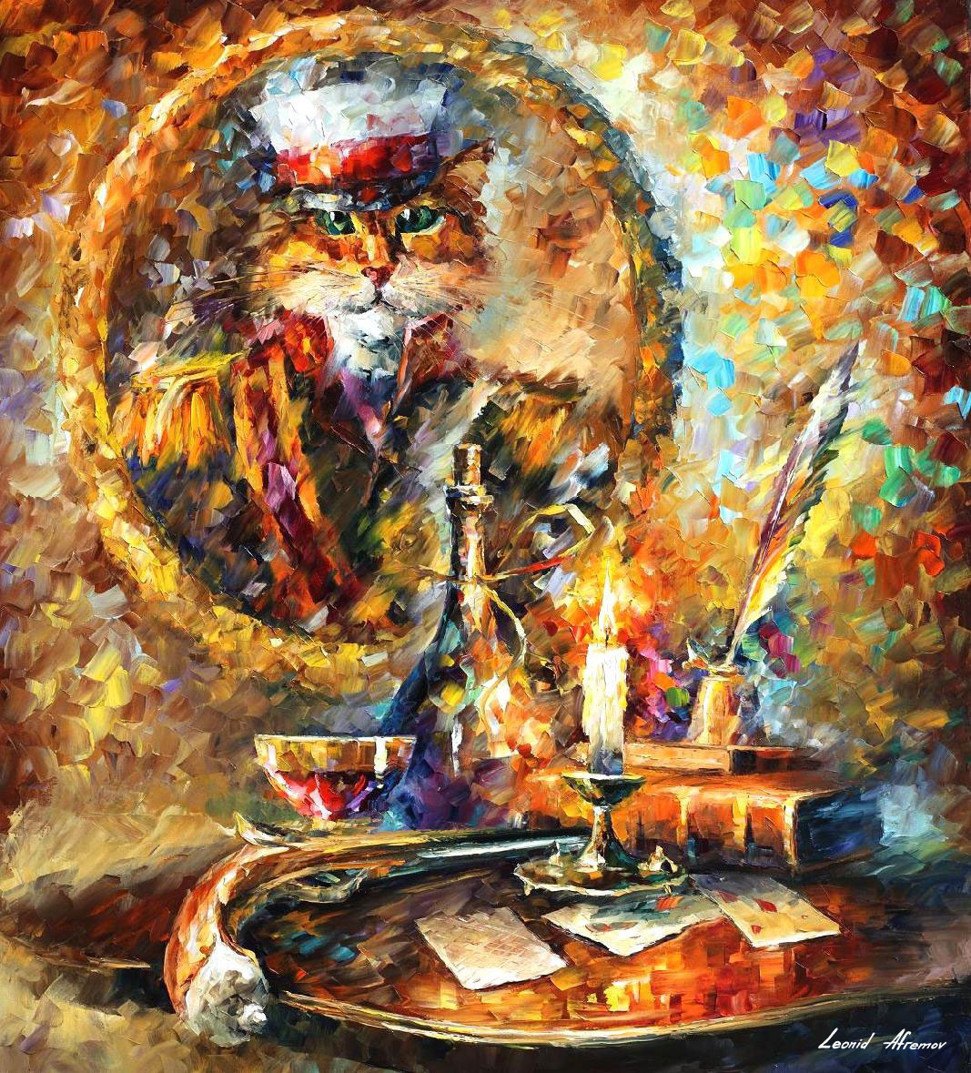 "OLD GENERAL - Original Oil Painting On Canvas By Leonid Afremov - 36""X30"" (90cm x 75cm)"