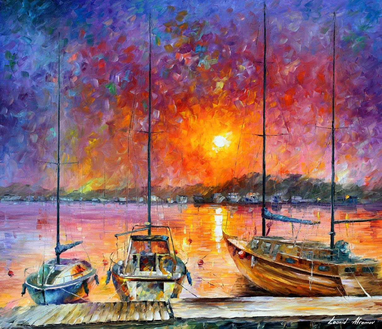 Ships Of Freedom Palette Knife Oil Painting On Canvas By