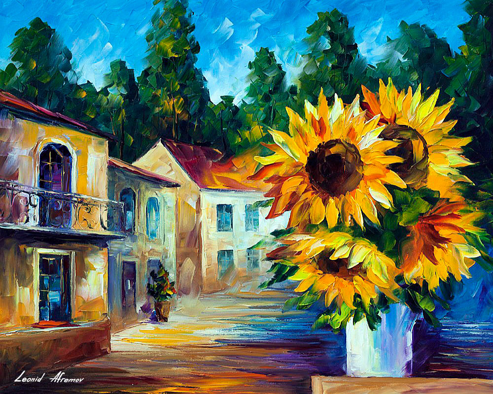 Sunflowers 5 Palette Knife Oil Painting On Canvas By