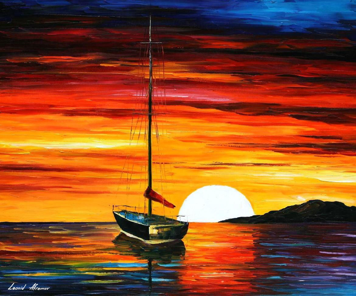 SUNSET BY THE HILL — PALETTE KNIFE Oil Painting On Canvas By ... | title | sunset painting