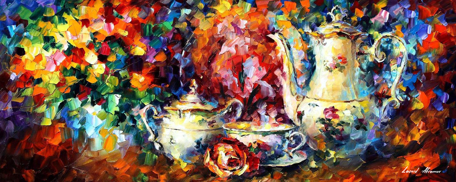 "TEA PARTY  - Original Oil Painting On Canvas By Leonid Afremov - 40""X16"""