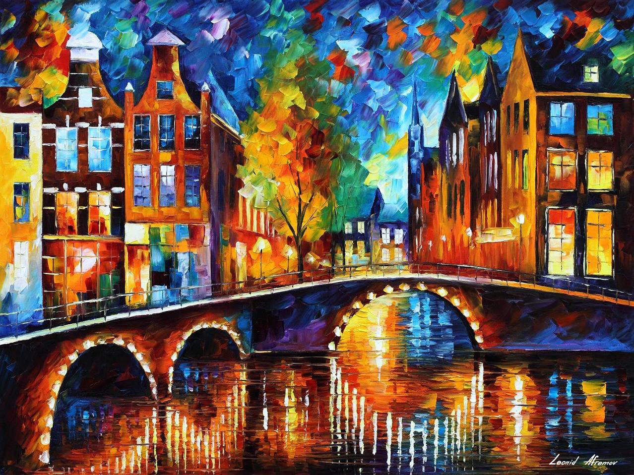 "THE MOST BEAUTIFUL BRIDGES OF AMSTERDAM 54""x40"" (135cm x 100cm)"