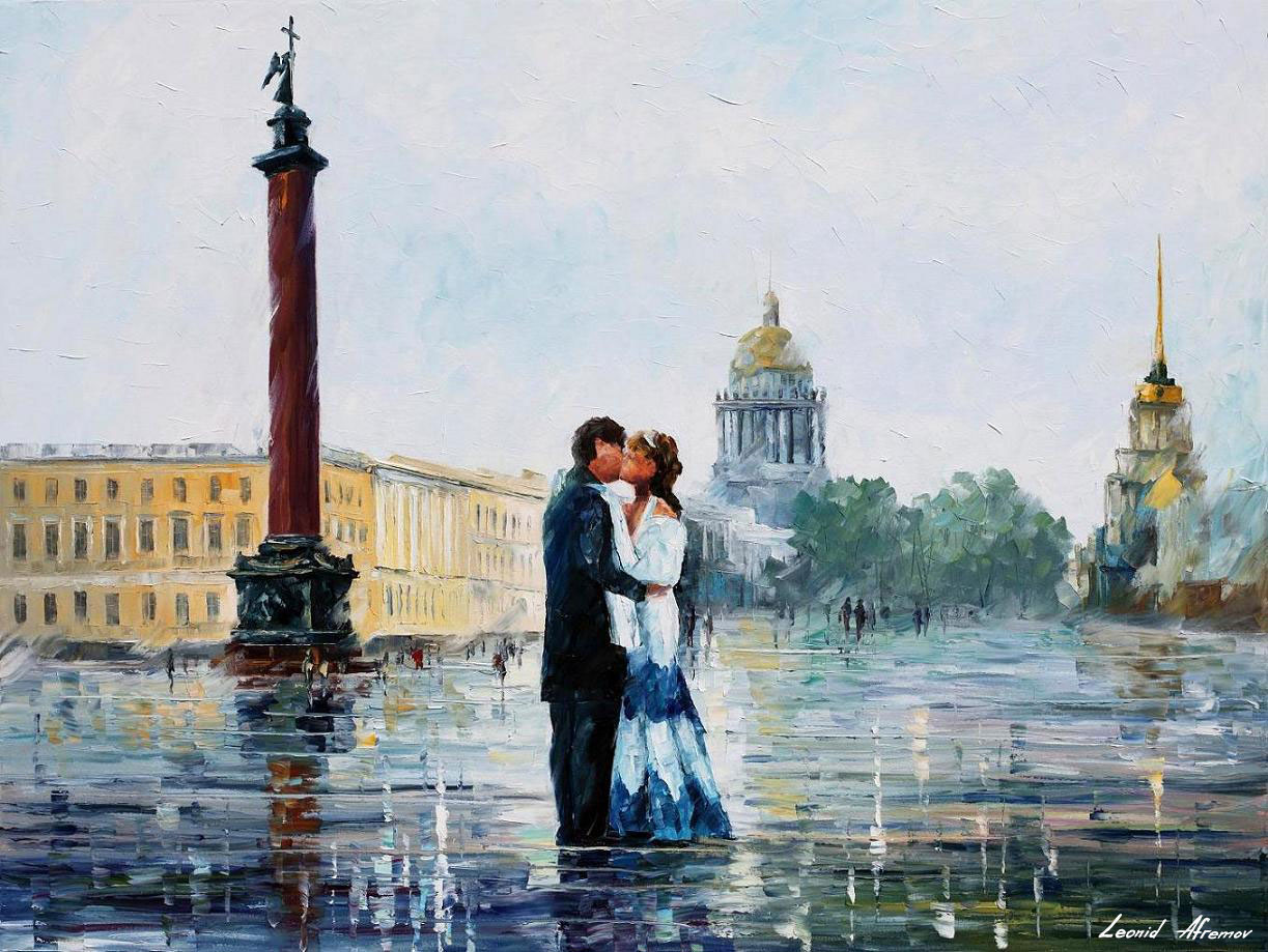 the kiss painting in st petersburg palette knife oil painting on