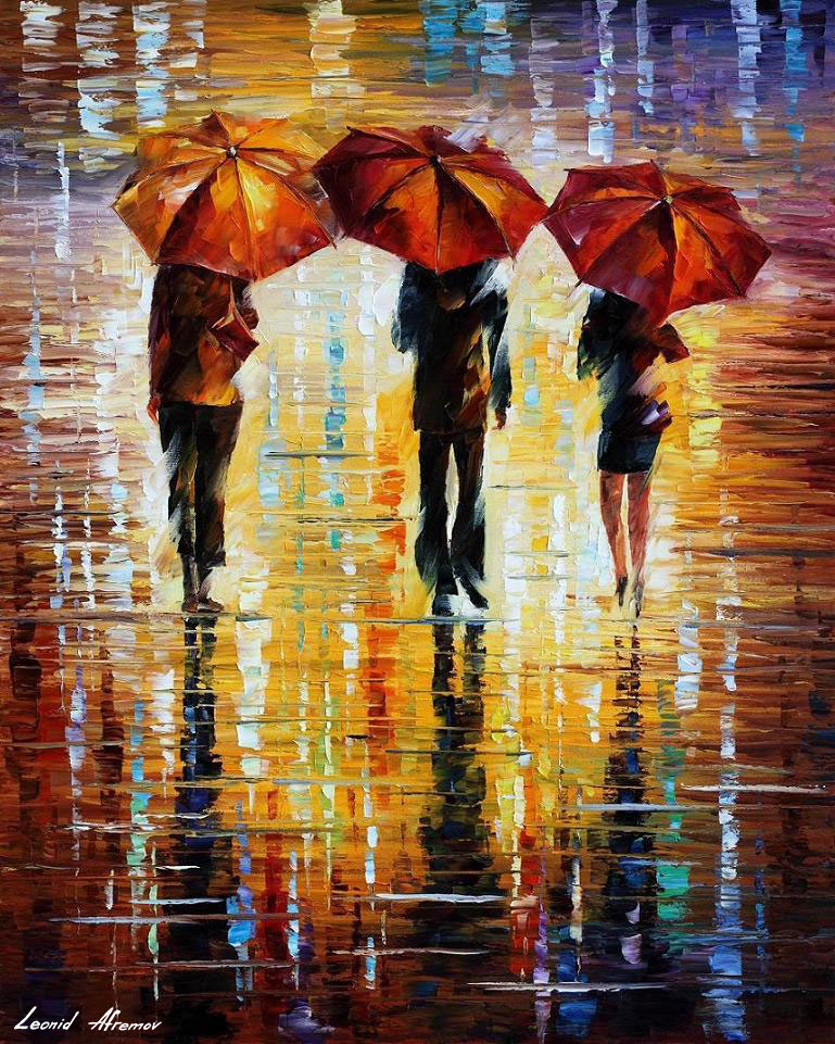 THREE RED UMBRELLAS