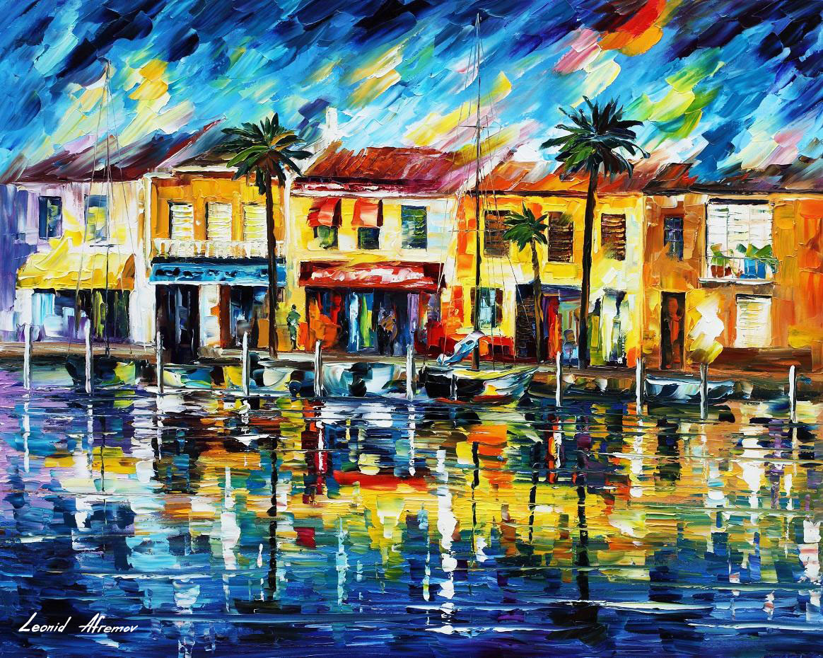 tropical night palette knife oil painting on canvas by leonid