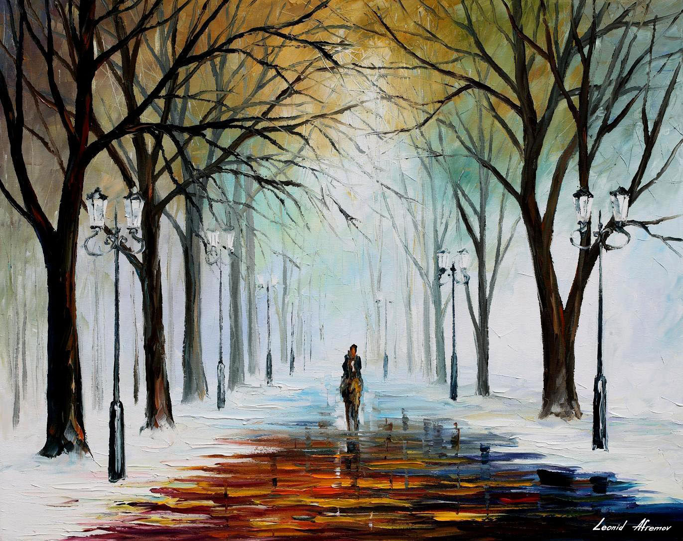 WINTER MOOD PALETTE KNIFE Oil Painting On Canvas By Leonid Afremov