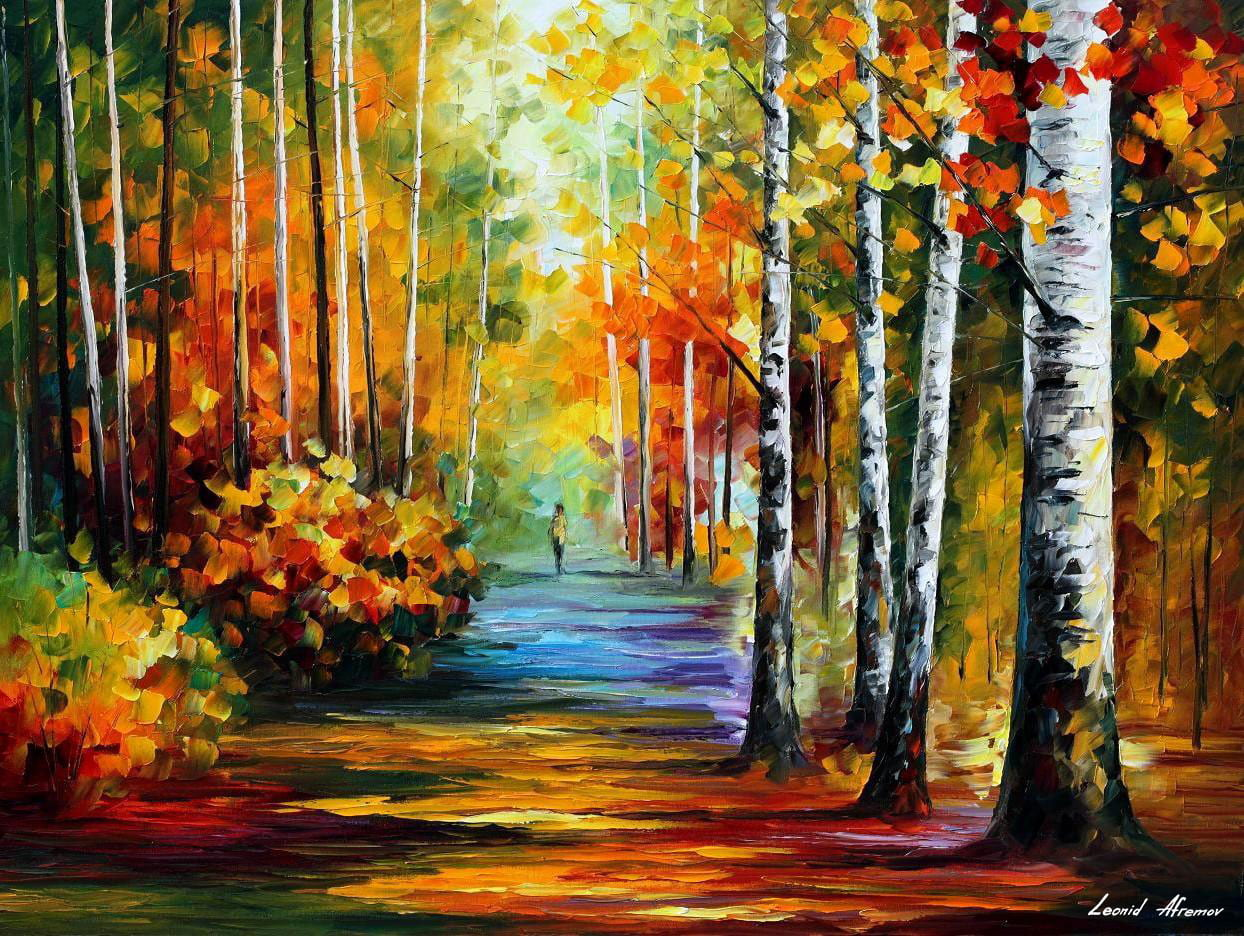 Autumn Forest Road Palette Knife Oil Painting On Canvas By Leonid Afremov Size 40 X30