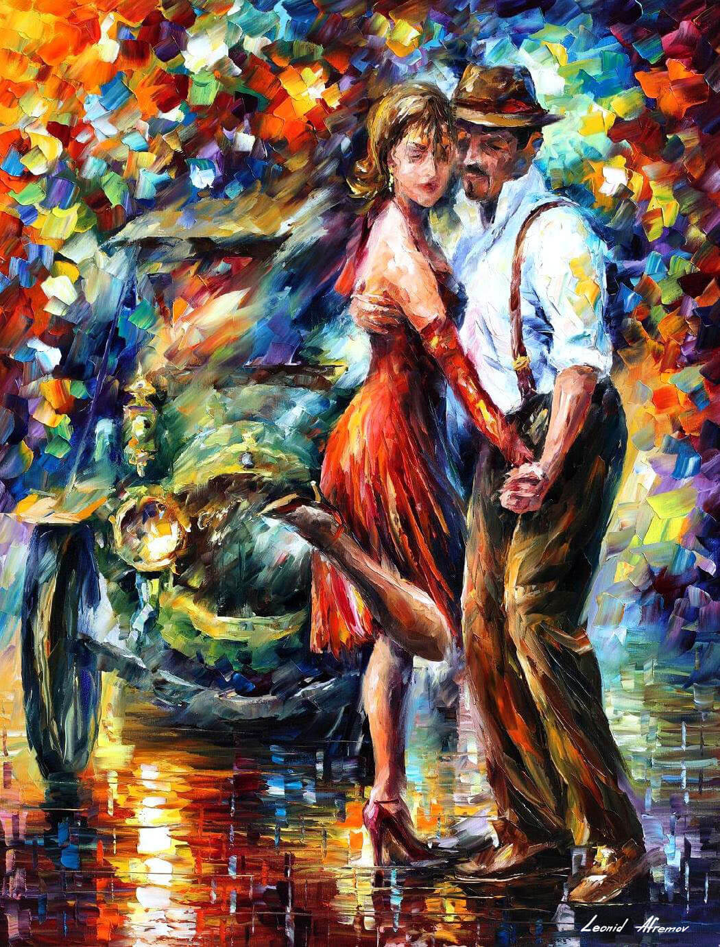 "BEAUTIFUL TANGO — Palette knife Oil Painting on Canvas by Leonid Afremov - Size 30""x40"""