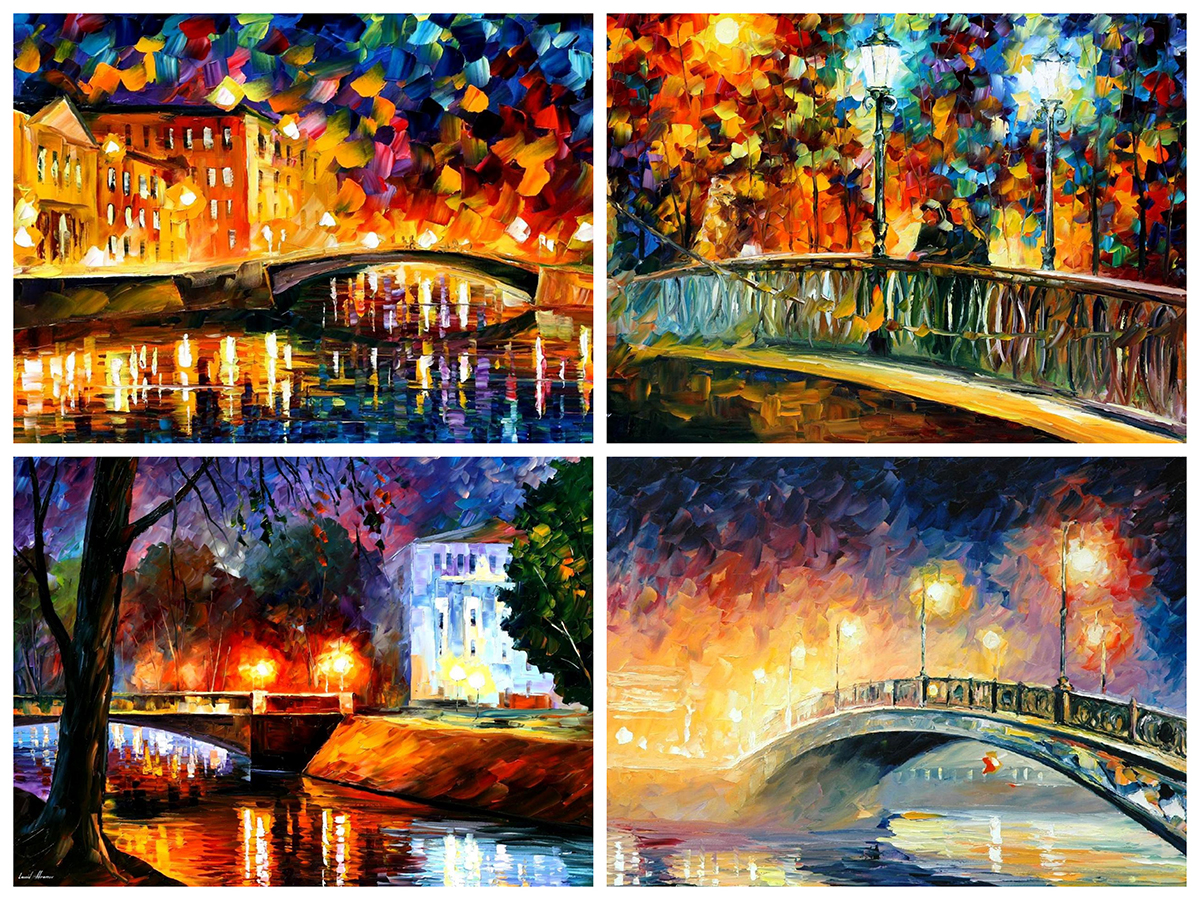 Set Of 4 My Most Favourite Paintings With Bridges (BRIDGE, MEMORIES OF THE FIRST LOVE, DATE ON THE BRIDGE, BRIDGE OVER DREAMS)