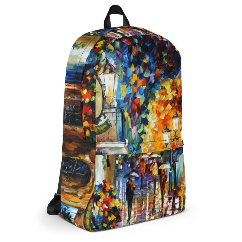 Backpack with print of the painting Cafe In The Old City