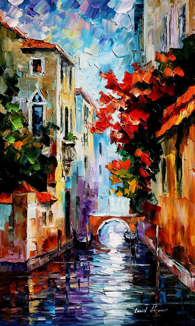 morning in venice palette knife oil painting on canvas by leonid