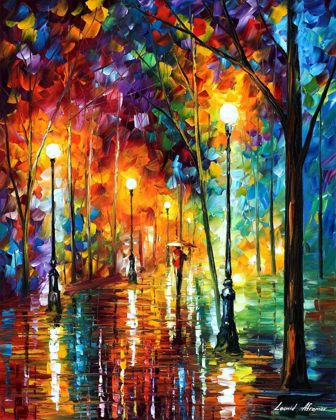 late stroll 2— palette knife oil painting on canvasleonid