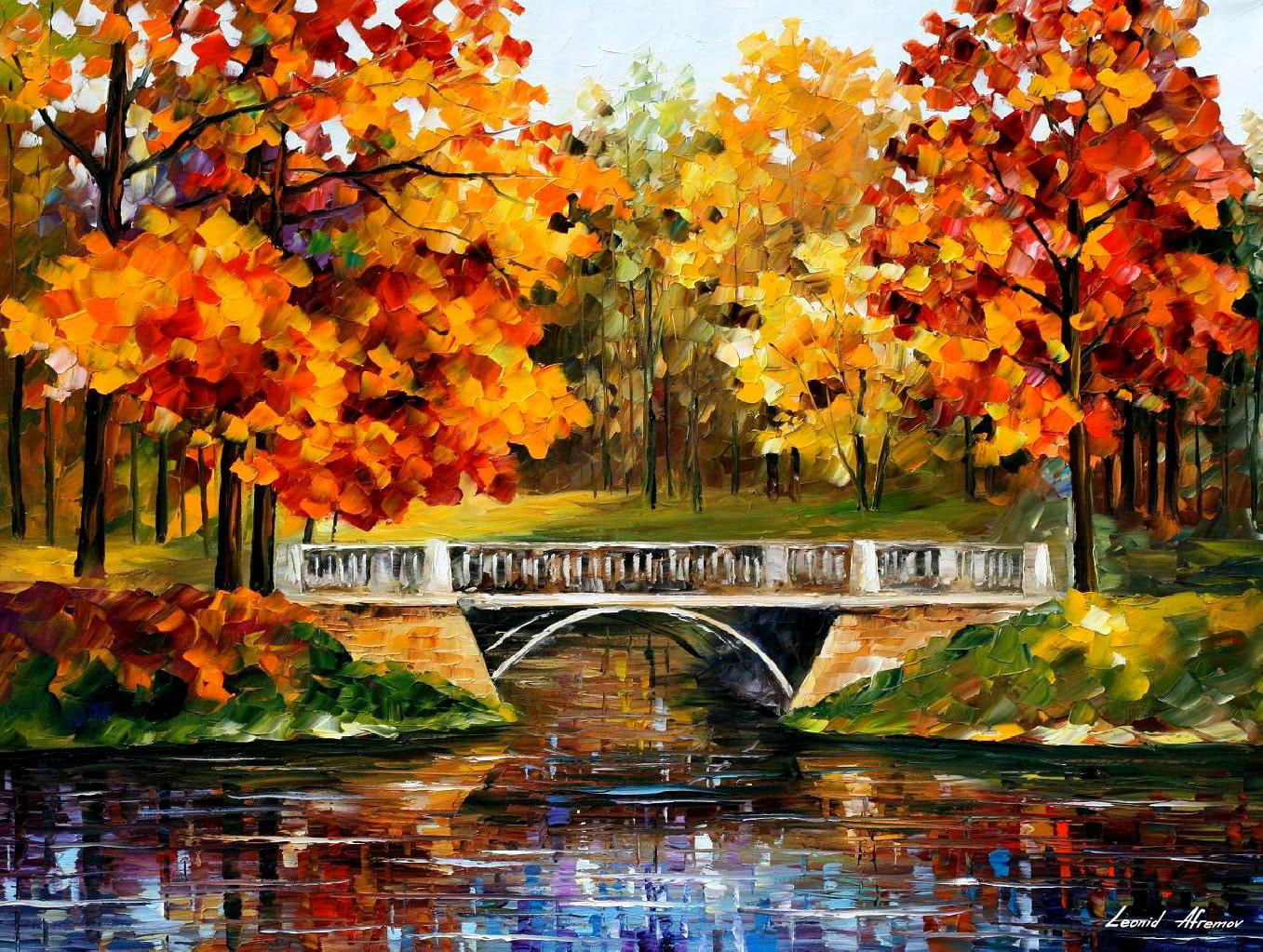 FALL RED BLINKS — PALETTE KNIFE Oil Painting On Canvas By Leonid Afremov