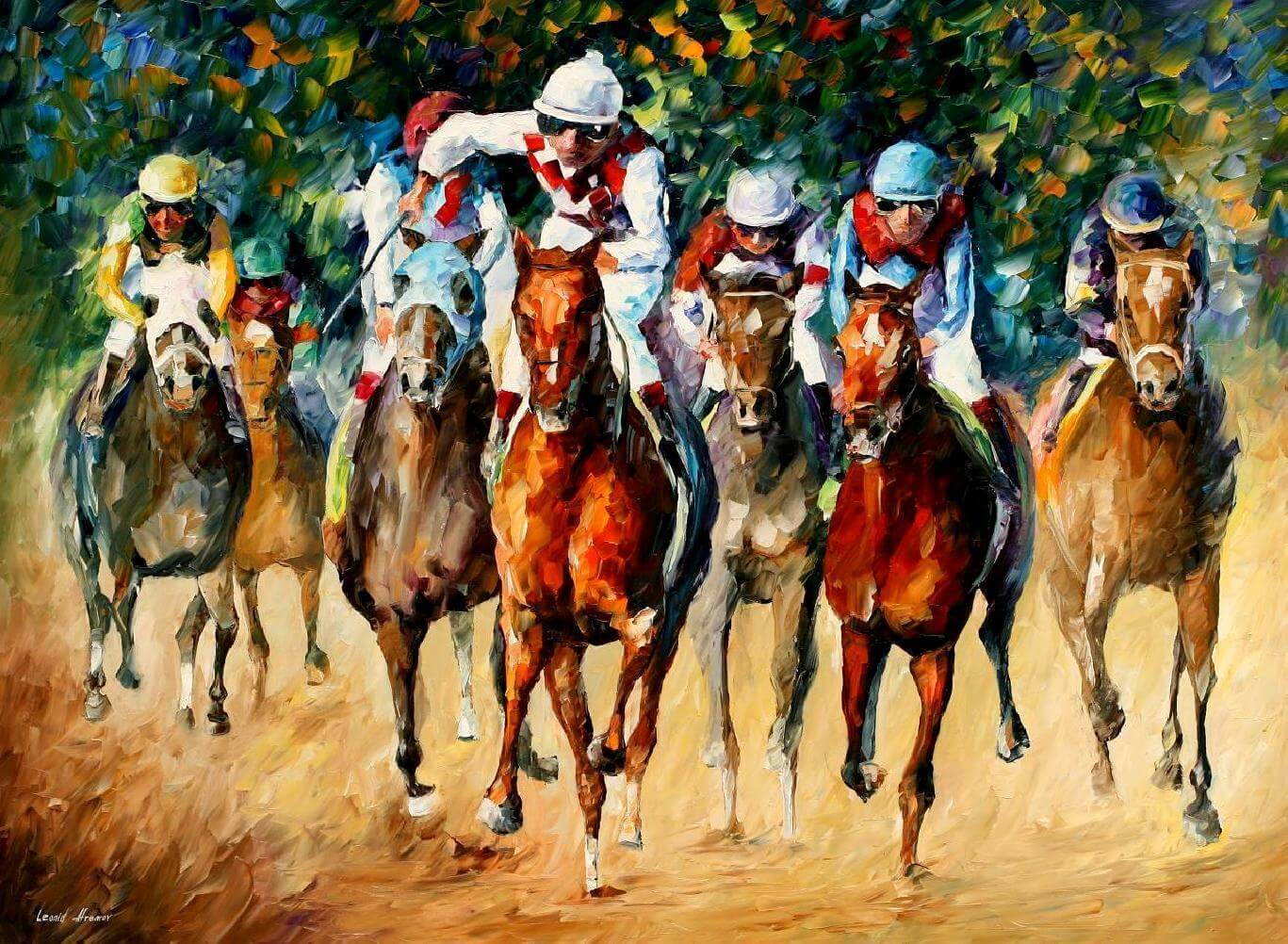 Horse Race Oil Painting By Artist Free Shipping