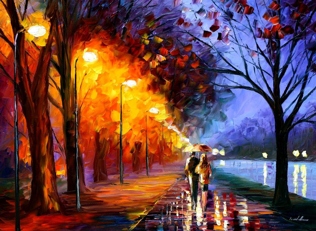 Jump kiss palette knife oil painting on canvas by leonid for What paint for canvas