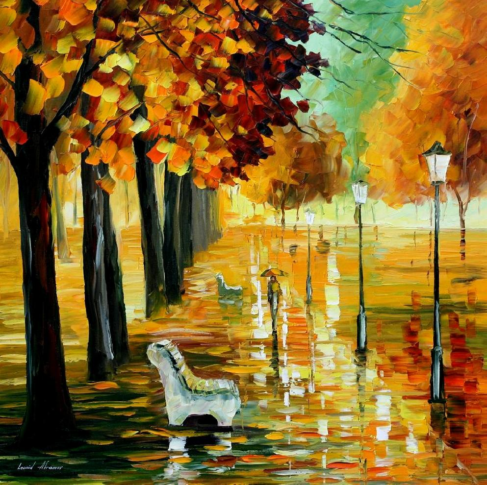 AUTUMN\'S KISS — PALETTE KNIFE Oil Painting On Canvas By Leonid ...