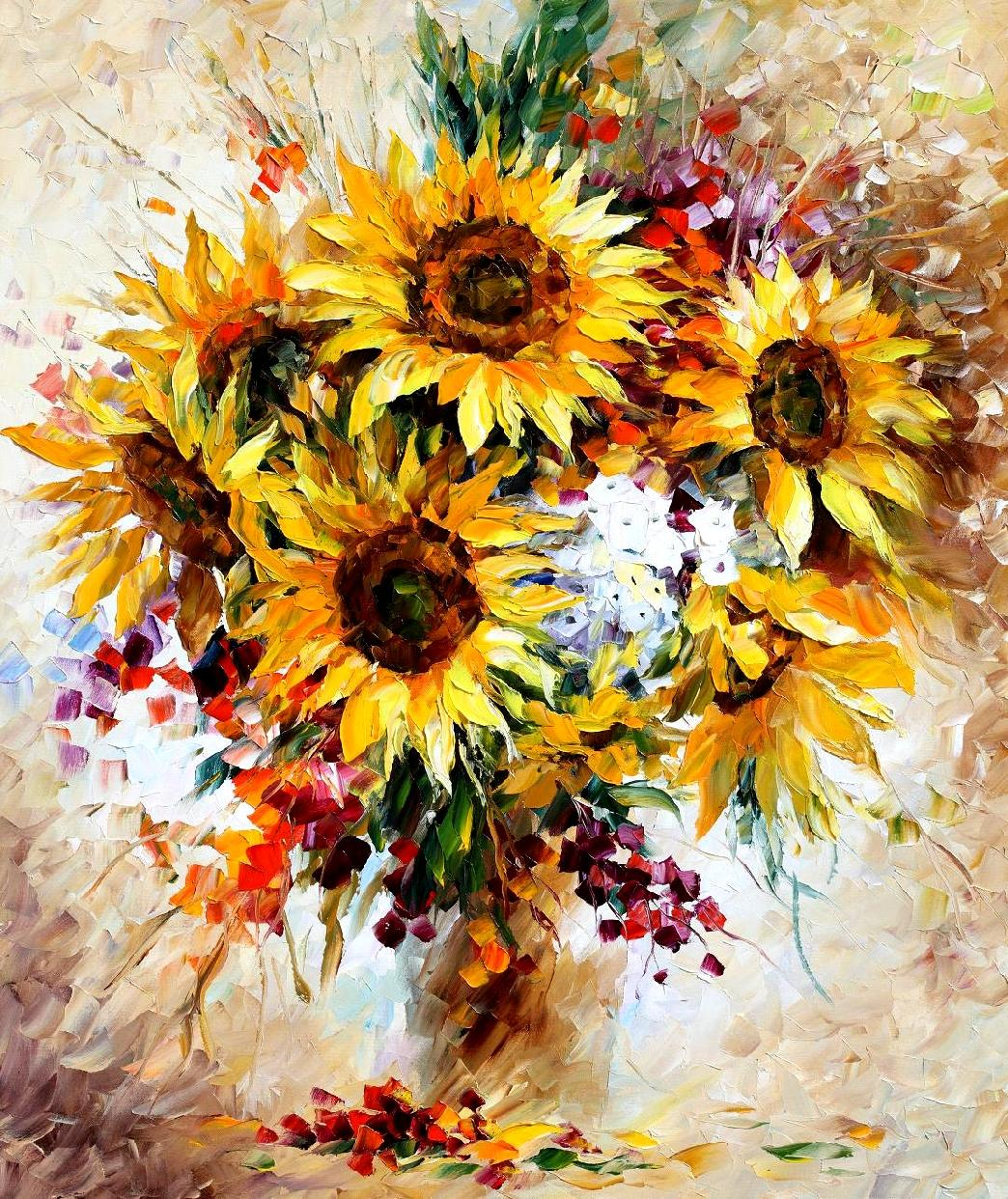 "HAPPY SUNFLOWERS— Palette knife Oil Painting  on Canvas by Leonid Afremov  - Size 30""x 36"" (75cm x 90cm)"