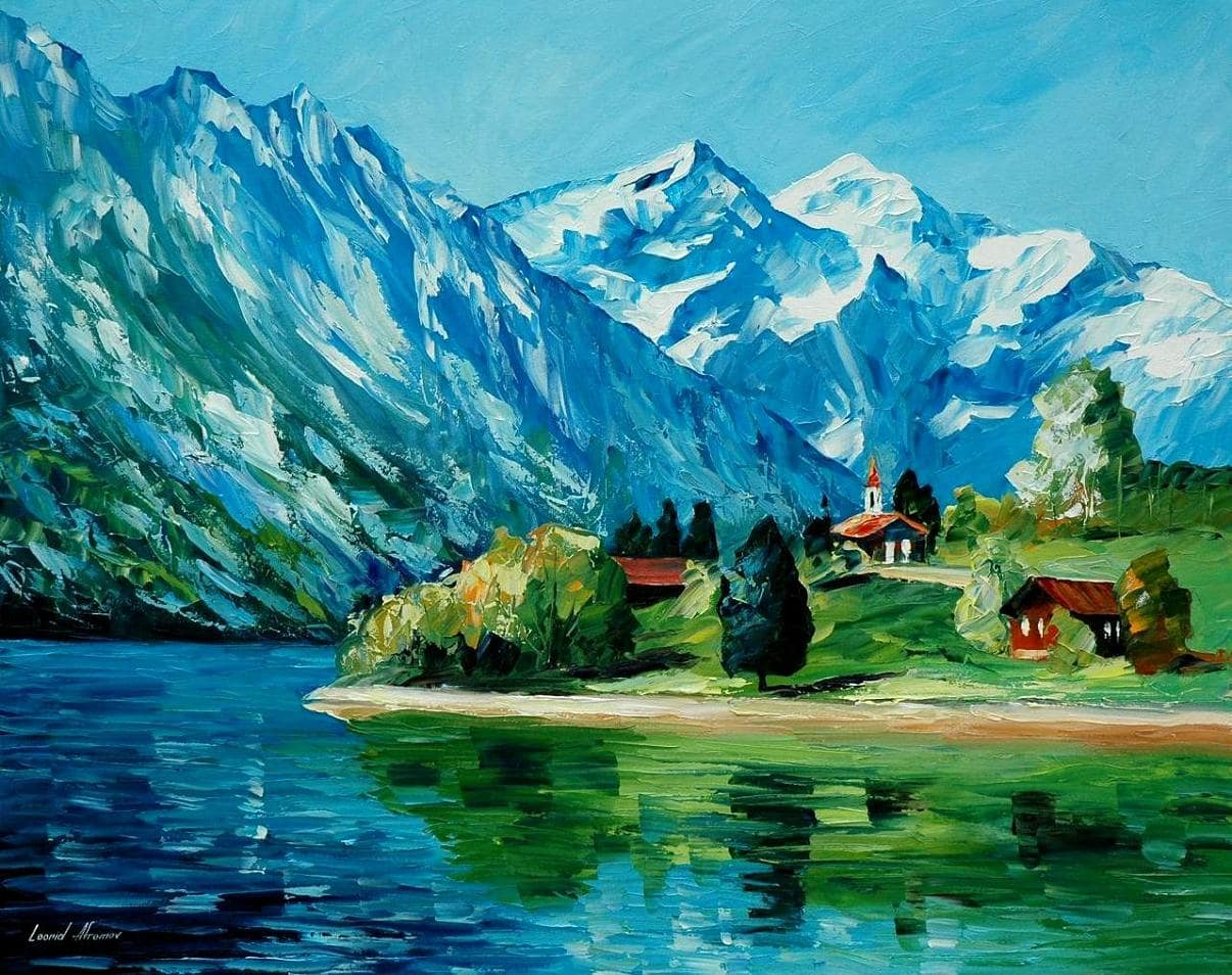 17e750b67 ICY MOUNTAIN painting   Free Shipping