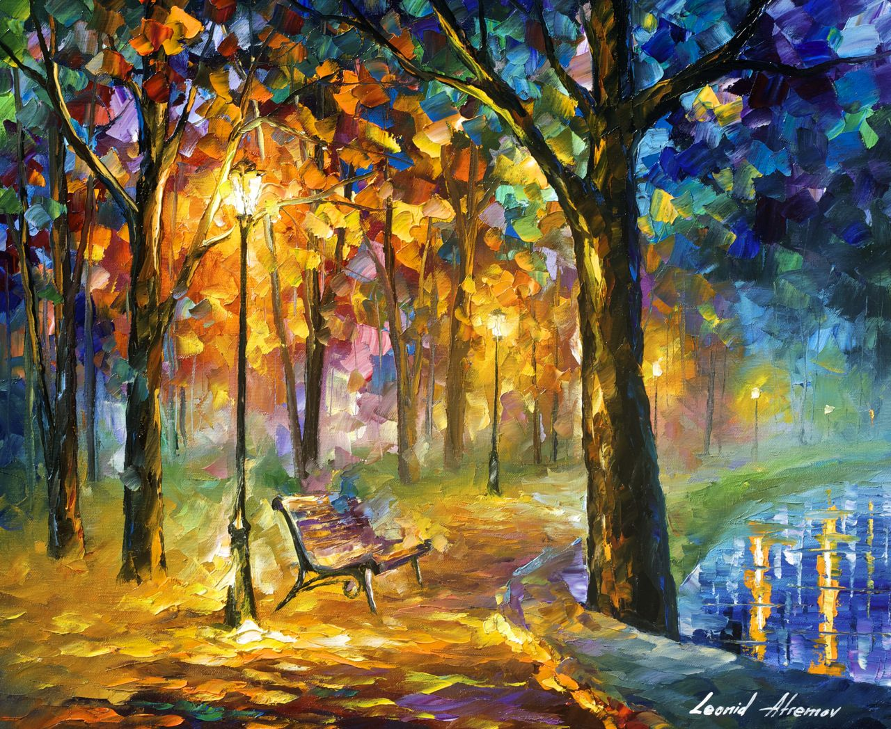 "SINGING PARK - Original Oil Painting On Canvas By Leonid Afremov - 24""x20"""