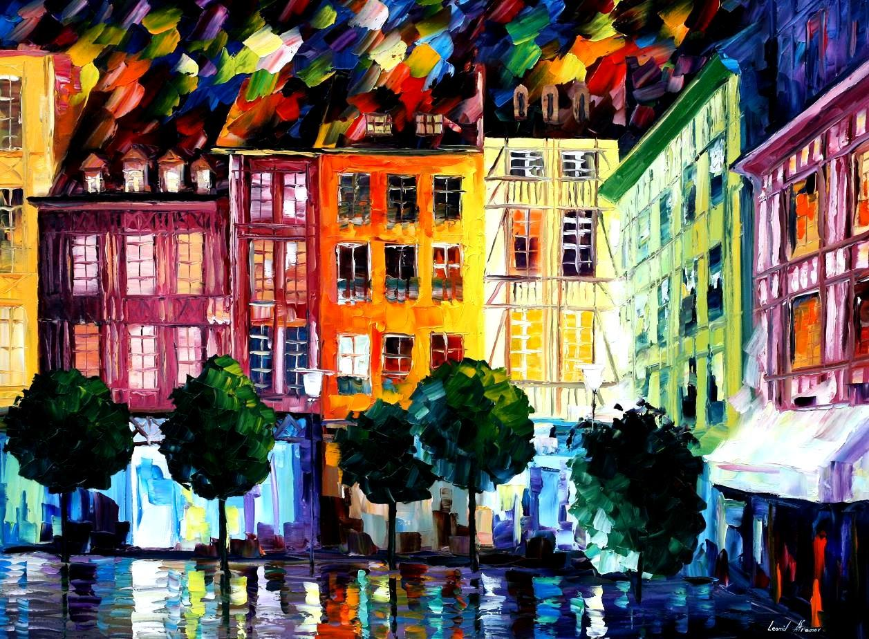 Rouen France Palette Knife Oil Painting On Canvas By